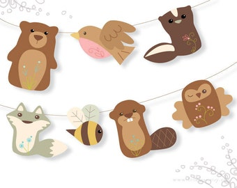 Printable Woodland Animals Garland Set 2 PDF download, perfect for Baby Shower Party Decor