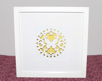 3D Yellow Butterfly Papercut Shadow Box Frame - Decorate your walls, Gift for Her, Living Room Wall Art, Home Decor, Girl's Room Wall Art