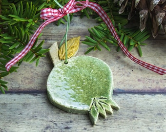 Green pomegranate ceramic hanging ornament, Rustic Decorations, Christmas tree Holiday Decor Good Luck charm, Woodland Decor, Hostess Gift