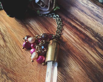 Crystal Quartz Rock Bullet Casing with Ivory & Burgdany Pearl Beads Pendant Necklace No. 3