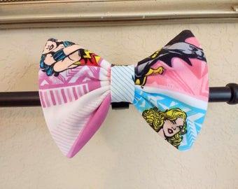 Superhero Girls Hair Bow, Hair Bow, Wonder Woman, Supergirl, Batgirl, Knit Hair Bow