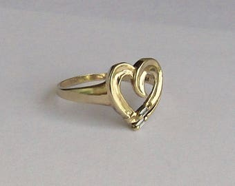 Baguette Diamond Ring in solid 10K Y Gold, size 6, free US first class shipping on vintage items