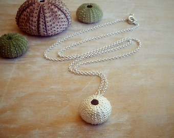 Sterling Silver Sea Urchin Pendant with Sterling Silver Chain  - Large Size Sea Urchin Necklace