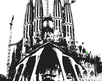 Cat print, wall art, architecture print, barcelona, spain, sagrada familia, religious, church, architecture, cathedral, graphic illustration
