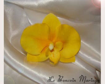 artificial yellow Orchid hair clip