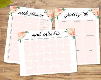 Meal Planner | Grocery List | Meal Calendar| 3 Pack Instant Download