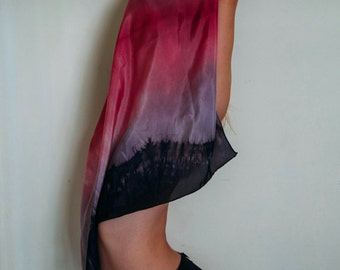 Quartzite Silk Scarf / Hand Dyed Scarf, Tie Dye Silk Scarf, Tie Dye Accessories, Organic Dye, Pink Dye, Sheer Silk, Luxury