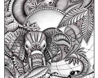 Elephant Zentangle/doodle Art