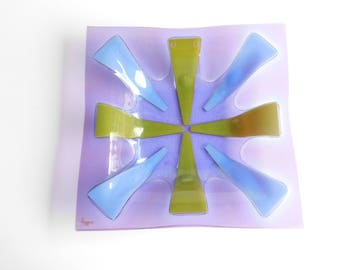 "Vintage Higgins Purple Fused Art Glass Square Bowl Dish 10"" Gold Signature C1960"