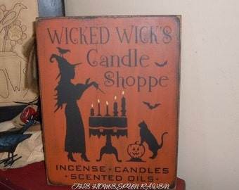 The Wicked Wicks Candle SHoppe Primitive Handpainted WICCAN wood sign plaque