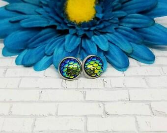 Green Mermaid Earrings, Mermaid Studs, Stainless Steel, 10mm, Hypoallergenic, Mermaid Earrings, Stud Earrings, Dragon Earrings, Green