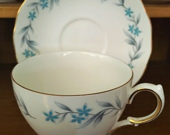 Royal Vale Teacup and Saucer - Blue and Grey Floral - 8333