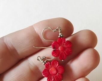 Vintage Sterling Silver Coral Flower Earrings