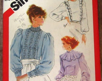 Misses Back-Button Blouses 3 Styles, Fitted, Long Sleeves, Collar Variations Size 8 Vintage 1980s Simplicity Pattern 5484 UNCUT