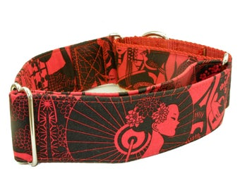 Dog Collar - Geisha Red and Black - Martingale & Buckle - 1 - 2 Inch Width
