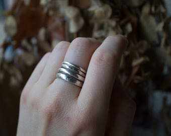Sterling Silver Stacking Rings, Stacking Ring Set, Silver Stacking Rings, Silver Ring Set, Stacking Set, Silver Hammered Ring, Trendy Ring