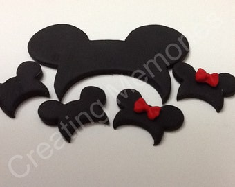 Fondant MM Hats Boy or Girl Set,. Edible Micky Ears made of vanilla fondnat ready for your cupcakes or cake decoration