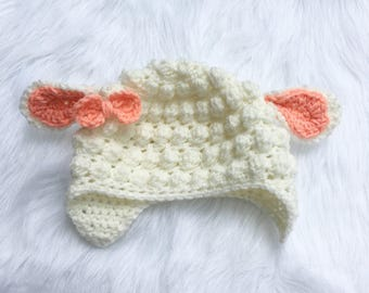 Baby Lamb Hat - Newborn Lamb Hat - Toddler Lamb Hat - Crocheted Lamb Hat - Costume Hat - Lamb Photo Prop Hat
