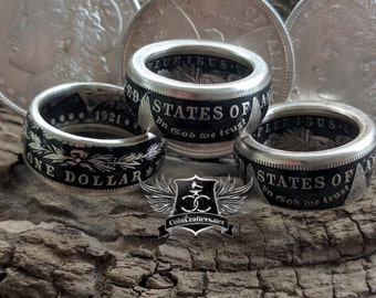 Coin Ring for Men – Morgan Silver Dollar Coin Ring Makes a Unique Ring for Him and a Beautiful Coin Jewelry Piece in 3 Finishes