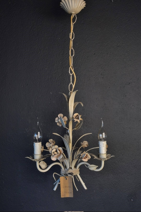 White toleware flower chandelier.