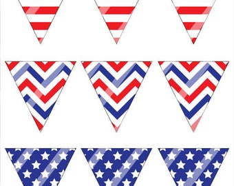 Printable Fourth of July Bunting, DIY Mini Pennant Flags Banner for 4th of July, Patriotic Stars and Stripes Banner Instant Download