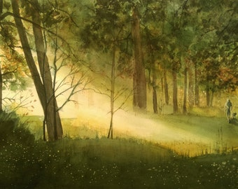 Original Watercolor Light in the forest