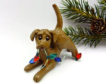 Labrador Retriever Chocolate PORCELAIN Christmas Ornament with Lights OOAK