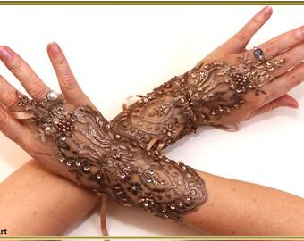 Wedding Gloves, Brown Gloves, Lace Gloves, Fingerless Gloves, Pearls Gloves, Bridal Gloves, Party Glove, Evening Gloves, Christmas Gloves