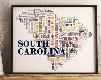 South Carolina Map Art, South Carolina Art Print, South Carolina City Map, South Carolina Typography Art, South Carolina Poster Print