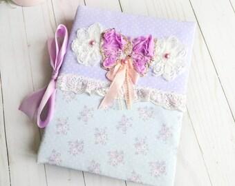 Princess Album, Buterfly Lilac Album, Personalized Album, Baby Girl Album, Wedding Album, Fabric Album, Shabby Chic, Handmade Album