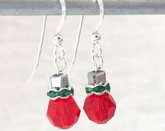Ornament Earrings - Red Crystal Earring - Christmas Ornament - Christmas Jewelry - Christmas Earrings