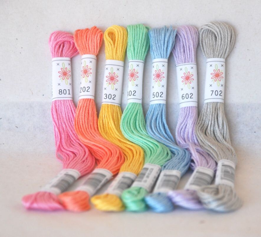 Embroidery Floss Frosting Pallete 7 Skeins Pack Embroidery