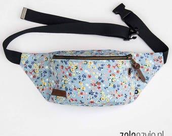 blue meadow Fanny Pack, Waist Bag, Bum Bag, Hip Pouch, Belt Bag, Custom Made, Slow Fashion