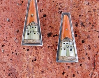 SPECTACULAR ZUNI INLAY Earrings, Spiny Oyster & Jet, Sterling Silver, Posts