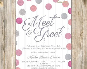 MEET and GREET Invitation, Silver Pink Glitters Meet the Baby Invite, Sip & See, Pink Baby Girl Shower, Baby Open House, Girl Meet N Greet