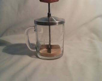 Anchor Hocking Food Chopper 1930s Measure Cup ,Vintage Food and nut Chopper with wood handle