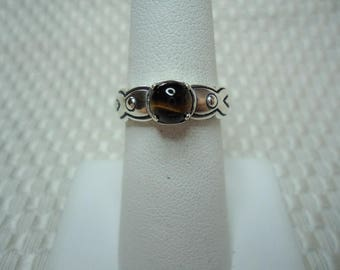 Round Cabochon Cut Tigereye Ring in Sterling Silver  #2055
