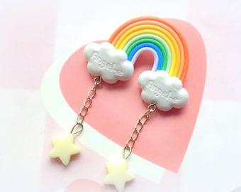 Kawaii Rainbow Cloud Brooch with Dangle Stars, Rainbow Brooch Pin, Cute Clay, Fairy kei, Sweet Lolita, Kawaii Polymer Clay Brooch, Colorful
