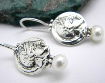 Athena sterling silver earrings, dangle coin earrings, white pearl , handmade jewelry antique style, greek coin jewelry