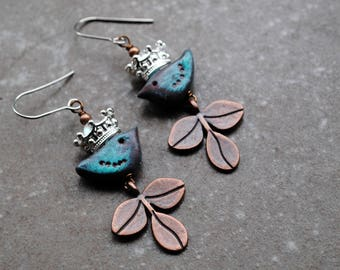 Artisan Earrings, Handmade earrings, Primitive earrings, polymer clay Bird Earrings, Bohemian earrings, boho jewelry, rustic leaf earrings