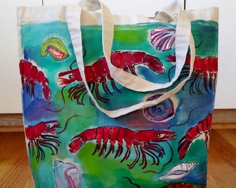 Gamberetti Tote Bag-Original Artwork originali pittura-One di un genere-Marine Life-oceano-crostacei-Seshells-bianco cotone Canvas Tote Bag