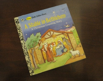 A Stable in Bethlehem - A Christmas Counting Story - Vintage Children's A First Little Golden Book – 10125-11