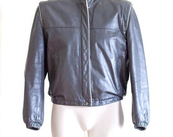 Gray and pink leather jacket with removable lining