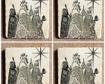 Christmas Coasters ~ 3 Wise Men Coasters ~ Winter Coasters ~ Drink Coasters ~ Tile Coasters