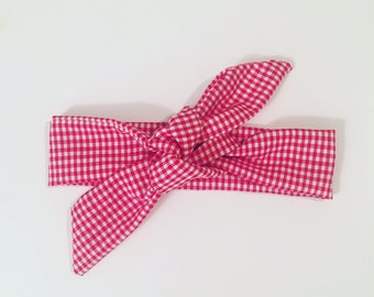 Headband tie red and white gingham baby from 3 months to 3 years