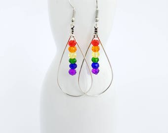 LGBT earrings - rainbow - silver plated earwires