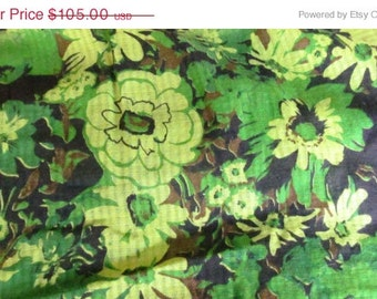 India Textiles Bohemian Green Floral Table Cloth India Fabric Decor Signed Cotton Fabric Bohemian Tablecloth 70s Green Tablecloth