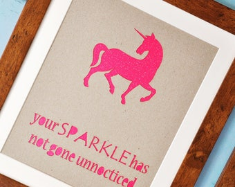 LASER CUT UNICORN | sparkly print