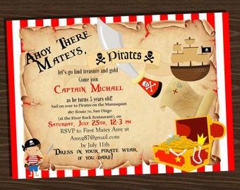 Pirate themed birthday invitation