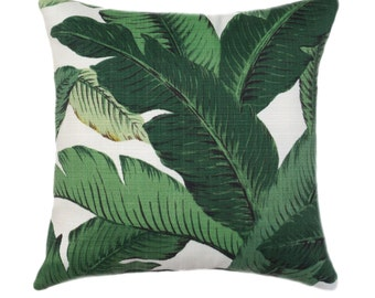 Indoor LINEN Pillow // Palm Leaf Pillow Cover // Green Pillow Cover // Hollywood Regency Decor // Hawaiian Decor // Banana Leaf Pillow Case